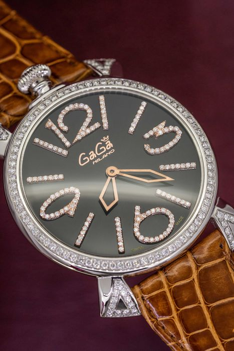 GaGà Milano - Thin 46MM 2.1 ct DIAMOND Limited Edition Watch Swiss Made - 5090.10 - Unisex - Brand New