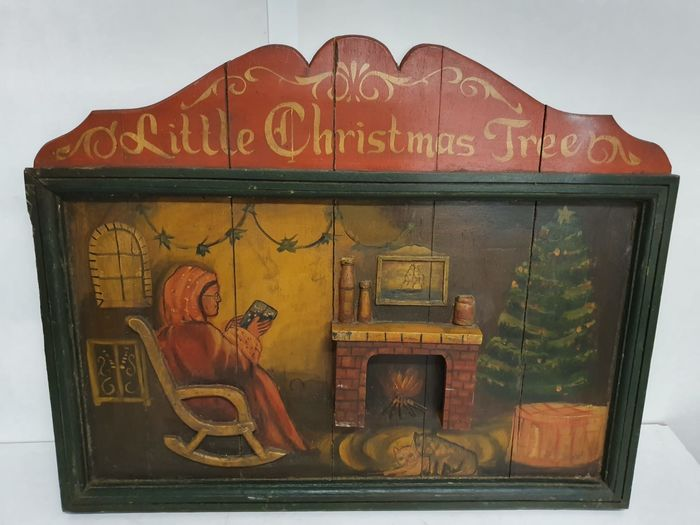 old original Christmas cafe board - Hout