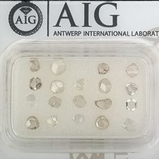 19 pcs Diamanter - 1.03 ct - Bland former - Mix Colors - SI1, VS1, VS2, VVS1, VVS2, ***No Reserve Price***