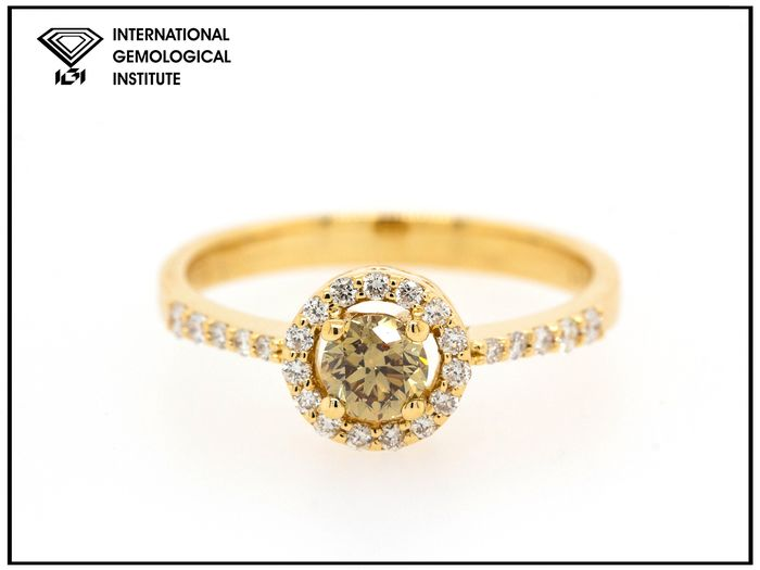 18 kt Gult guld - Ring - 0.69 ct Diamant - Fancy Deep Brown Yellow - VS2