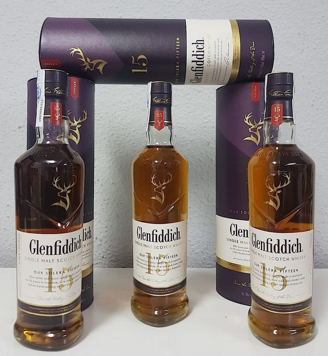 Glenfiddich 15 years old Solera - Original bottling - 70cl - 3 bouteilles