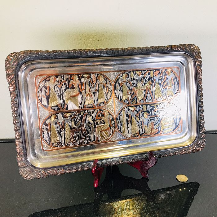 Fine detailed Egyptian tray - Copper