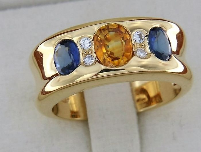 evagold - 18 kt. Yellow gold - Ring - 1.70 ct Sapphire