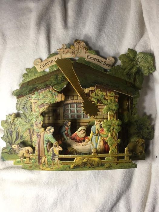 Christmas - Large paper nativity scene - Victorian Style - Paper