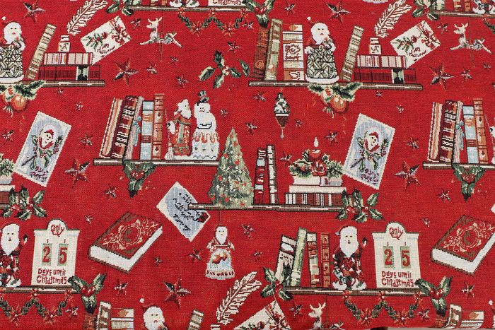 1.40 meters !! Fantastic textile Christmas gobelin fabric with gold lurex threads. textile, fabric, - cotton blend
