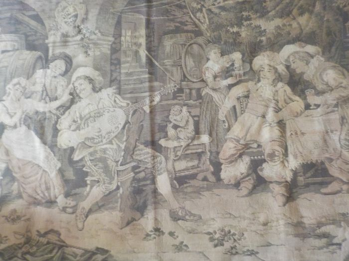 antique tapestry with tavern scene and monkey (1) - Textiles - First half 20th century