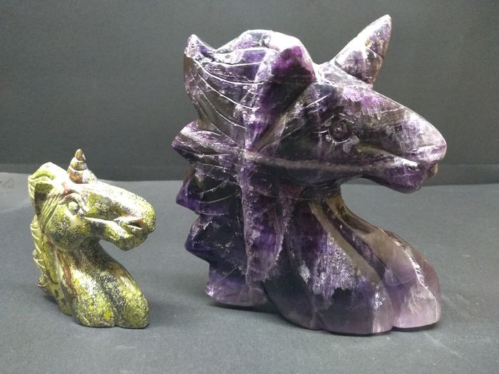 2 Beautiful  Natural  Amethyst  and Ocean Jasper   Crystal  Quartz Carved Unicorns - 125×115×45 mm - 889 g - (2)