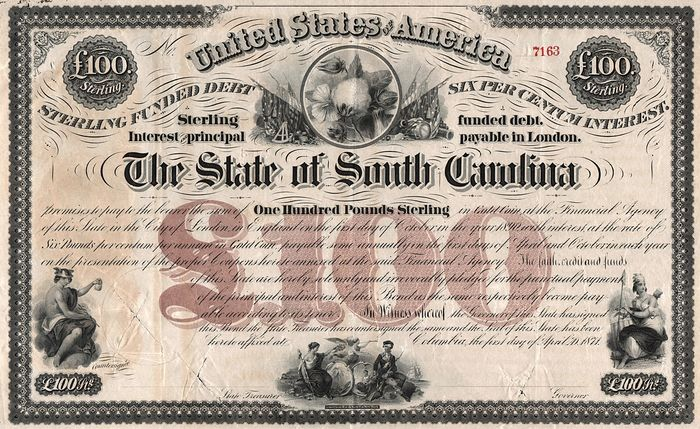 USA - The State of South Carolina - 1871 - Sterling Funded Debt