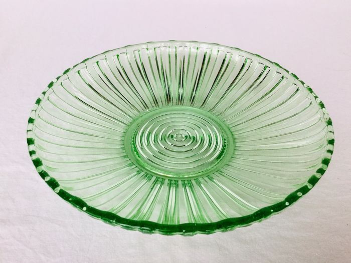 Art Deco Fruit fruit bowl or table center, molded transparent clear green uranium glass - ca 1920-1930 France