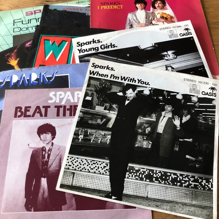 Sparks - Collection of 9 picture sleeve singles incl. autographed copy - Multiple titles - 45 rpm Single - 1975/1983