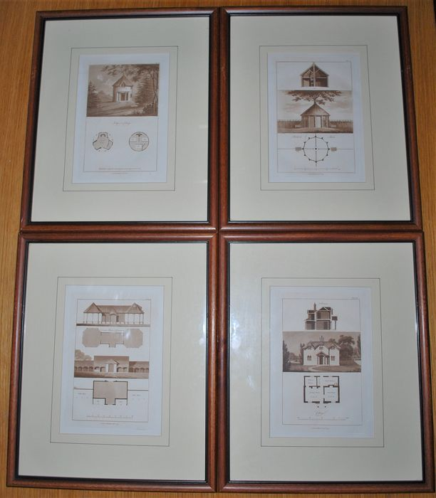 Four Architectural Aquatint Etchings - Georgian - Paper - circa 1800