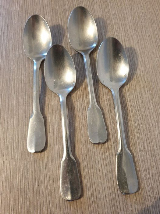 Nice series of 4 teaspoons, Cluny Model (4) - Steel, Christofle House, Paris