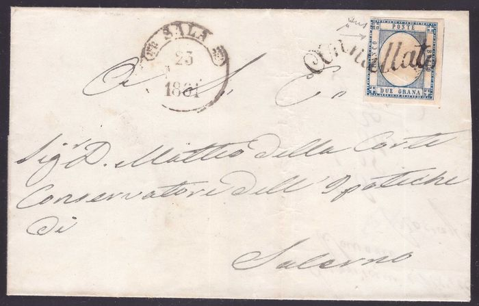 Neapolitan provinces 1861 - 2 gr. light blue on letter from Sala with flourish cancellation - Sassone N. 20