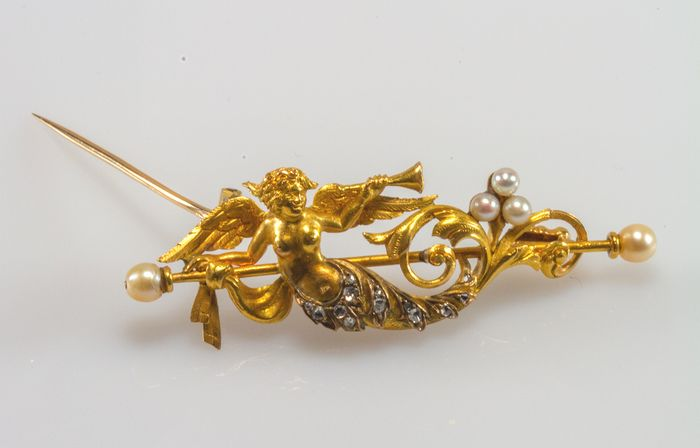 18 kt. Yellow gold - Brooch, Pendant - Diamonds, Pearls