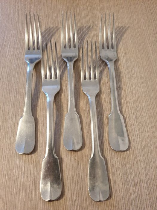 Nice series of 5 table forks, model Cluny (5) - Steel, Christofle House, Paris