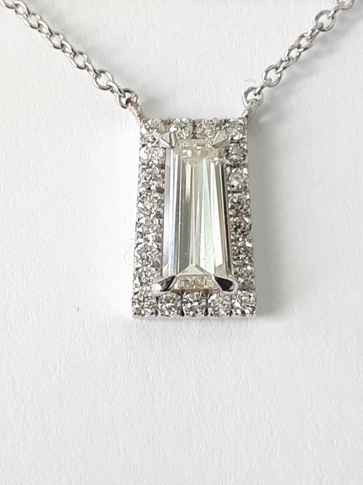 14 kt. White gold - Necklace - 1.01 ct Diamond