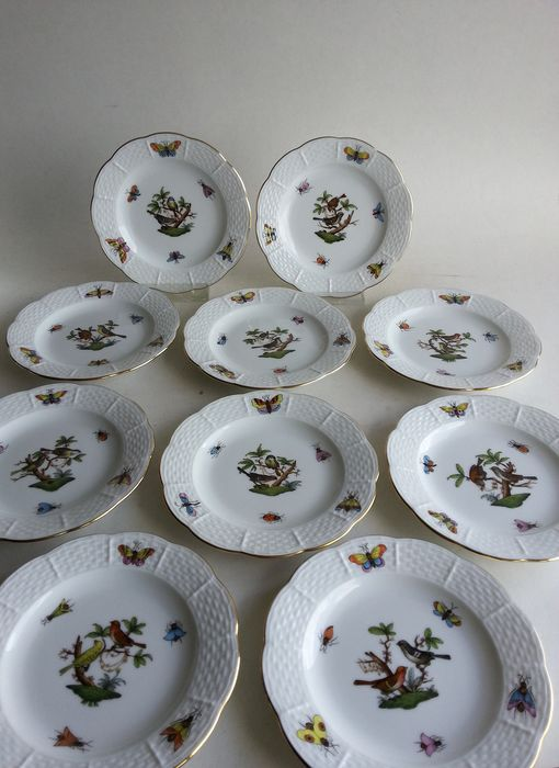 Herend - 10 Rothschild Birds plates plates 512 RO - Porcelain