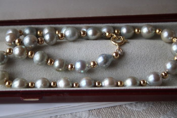 14 kt. Akoya pearls, Yellow gold - Necklace ca. 7.7 mm