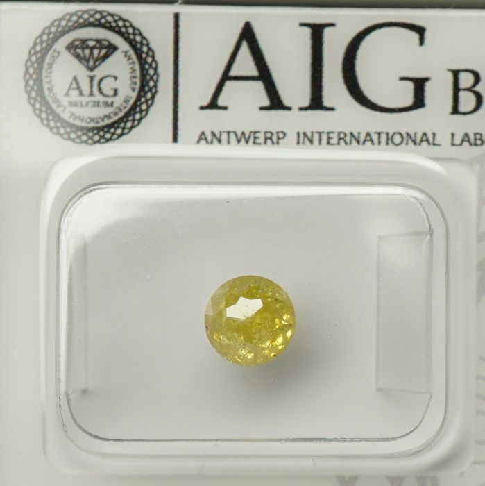 1 pcs Diamant - 1.02 ct - Ronde roos - fancy yellow - I2- No Reserve