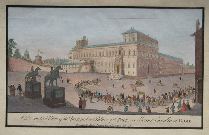 Italia, Rome; R. Sayer - A Perspective View of the Quirinal or Palace of the Pope en Mount Cavallo at Rome - 1751-1760
