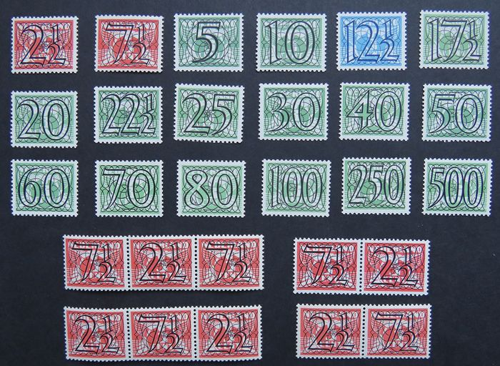 Países Bajos 1940 - Numeral type 'Guilloche' including strips - NVPH 356/373 en 356a/d