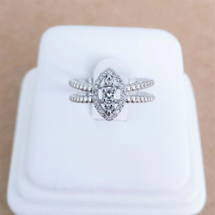 18 karaat Witgoud - Ring - 0.09 ct Diamant - Diamant