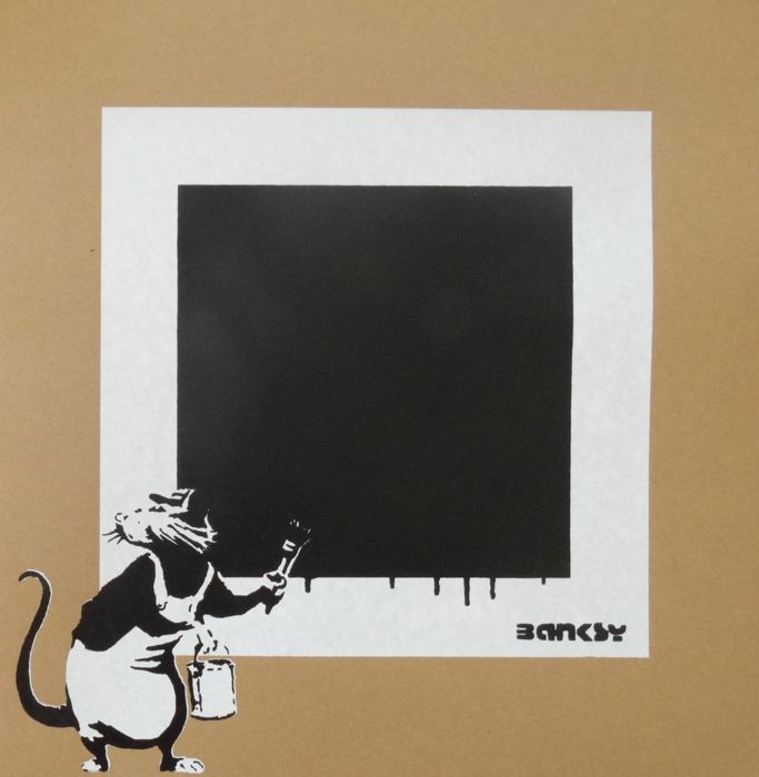 Not Not Banksy / STOT21stcplanB - Rat with black Square