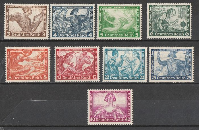 Germany Third Reich 1933 - Wagner's musical works, mixed perforation - Unificato 470/478