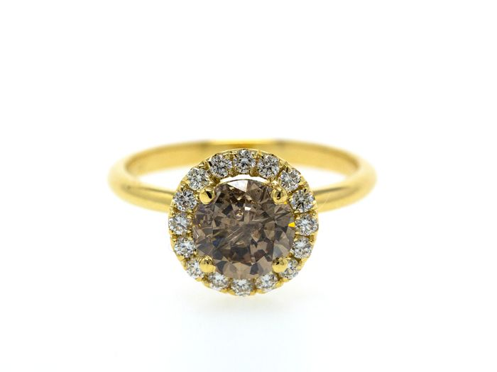 14 quilates Oro amarillo - Anillo - 1.78 ct Diamante - Fancy Greyish Brown - Sin precio de reserva
