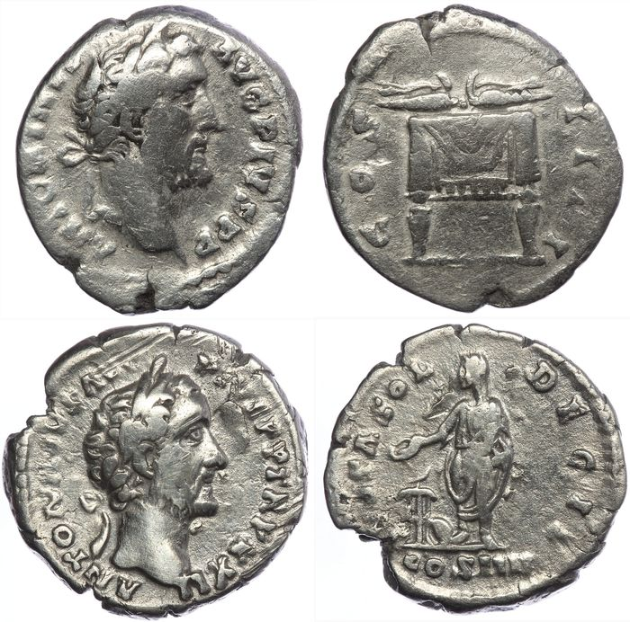 Roman Empire - Two AR denarii - Antoninus Pius - Sacrificing scene (RIC 291) & Pulvinar (137) - Silver