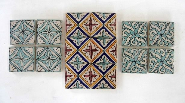 Hand painted tiles (14) - Glazed terracotta - majolica