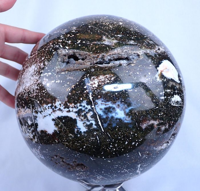 Beautiful Giant Ocean Jasper Sphere, With Nice Little Natural Druse - 220×220×220 mm - 14596 g