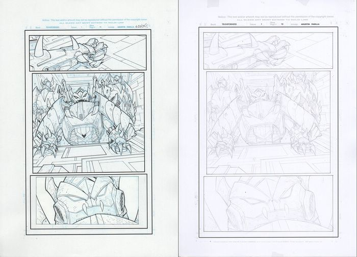 Transformers 1 - Prime: Rage of the Dinobots-Original page nº 10 ink + pencil - First edition - (2012)