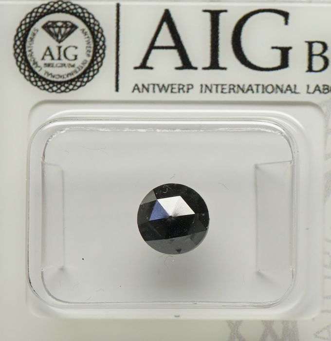 1 pcs Diamante - 1.29 ct - Rodada Rose Cut - fancy black - No Reserve