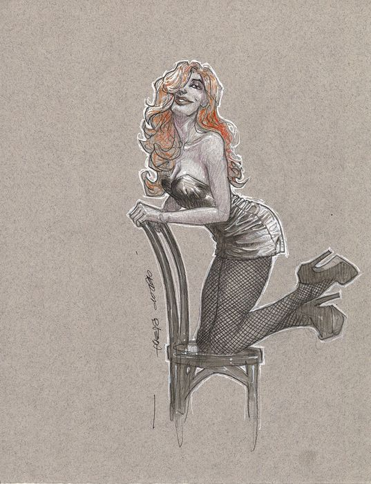 Bleda, Sergio - Original drawing - Redhaired woman