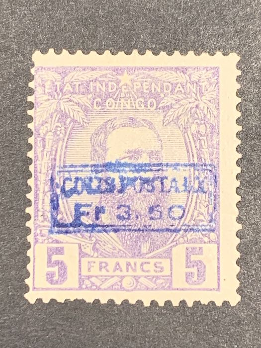 Congo Belga 1889 - Leopold II in profile looking at the right - Colis postaux 3.50 on 5f violet -Blue overprint - OBP / COB CP4