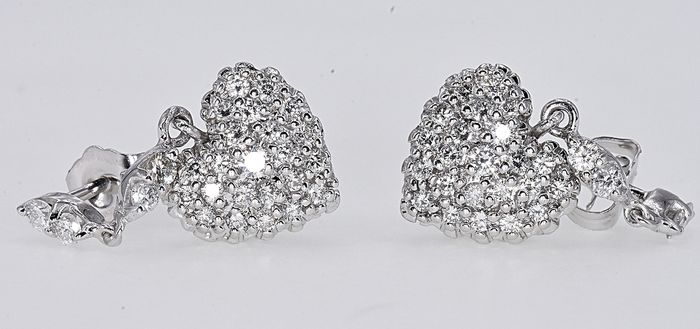 White gold - Earrings - 0.81 ct Diamond