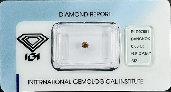 Diamant - 0.08 ct - Brillant - fancy intens brownish yellow - SI2