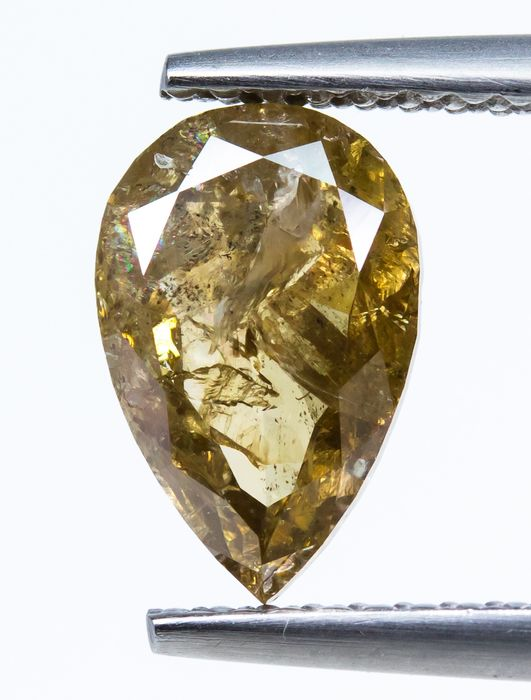 Diamond - 1.67 ct - Natural Fancy DEEP Yellowish Brown - I2  *NO RESERVE*
