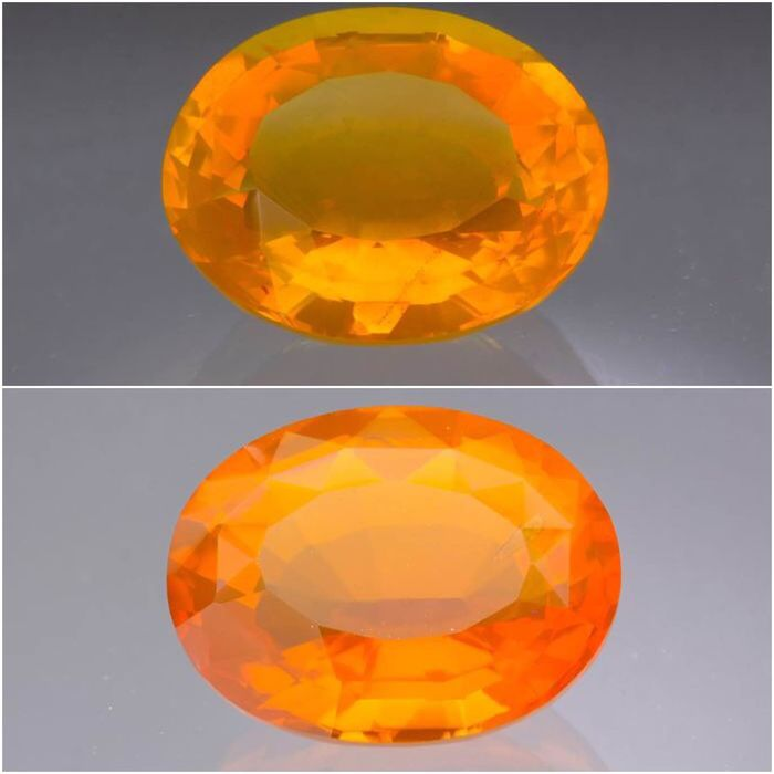 2 pcs Orange, Red Fire Opals - 1.90 ct