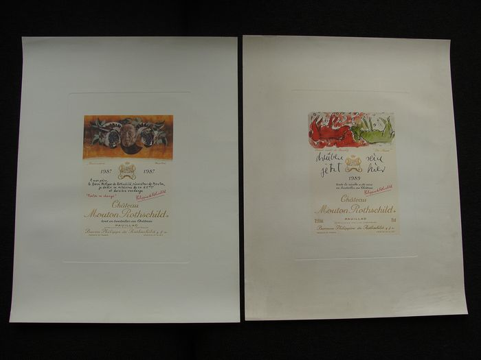 Château Mouton Rothschild 1987 + 1989 Lithograph - Bordeaux - 2 items