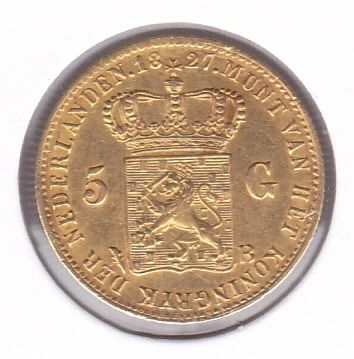 The Netherlands - 5 Gulden 1827 b Brussel Willem I (Variant met open B van Brussel) - Gold