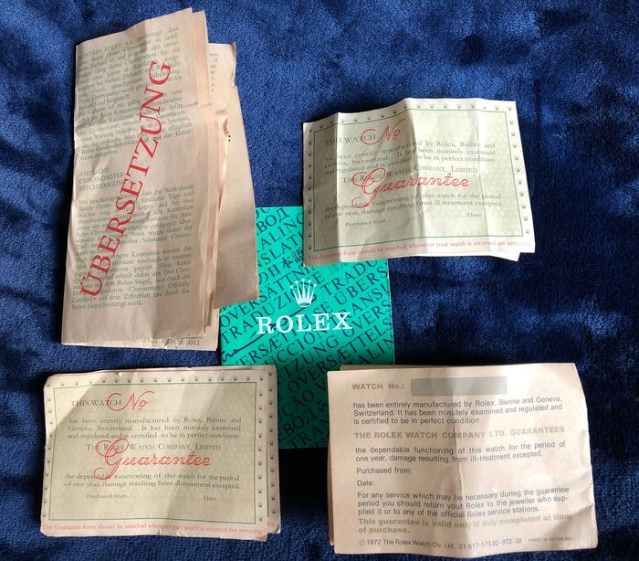 Rolex - Rolex-Guarantees -1962-1966-1971-1972/ Blank  - translation green booklet included  - Unissexo - 1962-1966-1971-1972