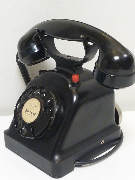 Zenith Switserland 1950s - Rare Office desk phone with chromed bells - Bakelitte telephone and handle