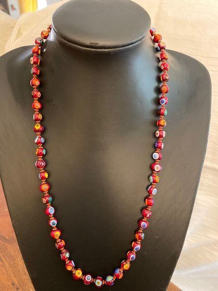 Murano - Millefiori red pearl necklace