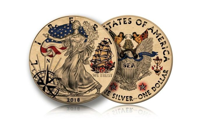 USA - 1 Dollar 2018 - Liberty American Traditional TATTOO Sea Adventures- 1 Oz - Silver