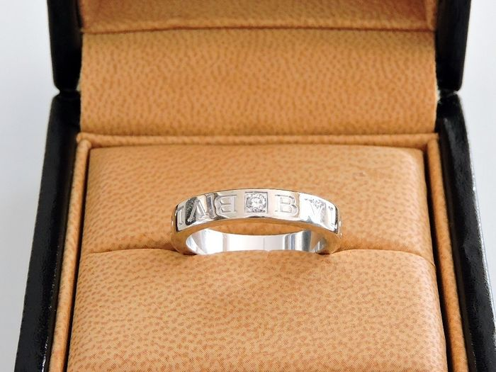 BULGARI- BVLGARI BVLGARI 18 kt white gold ring set with a diamond - 18 kt. White gold - Ring