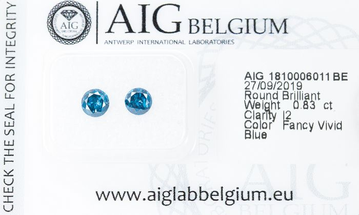 2 pcs Diamonds - 0.83 ct - Fancy VIVID Blue Diamond Lot - I2  *NO RESERVE*