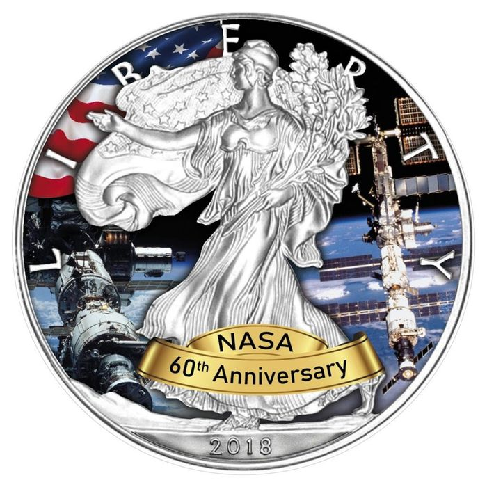 United States. 1 Dollar 2018- Silver Eagle - 60 Jahre NASA -Space Station - 1 Oz