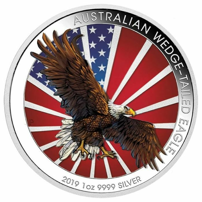 Australien - 1 Dollar 2019 - Wedge-Tailed Eagle - Colorized - 1 Oz with COA - Silber